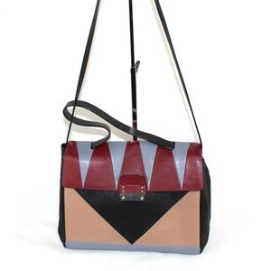 Valentino Glam Lock Geometric Color Block Handbag